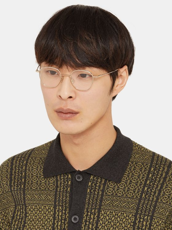 Native Sons Roy Round-Frame Gold-Tone Optical Glasses