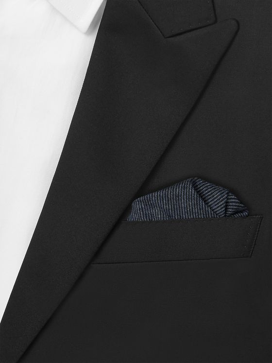 Oliver Spencer Micro-Striped Cotton Pocket Square