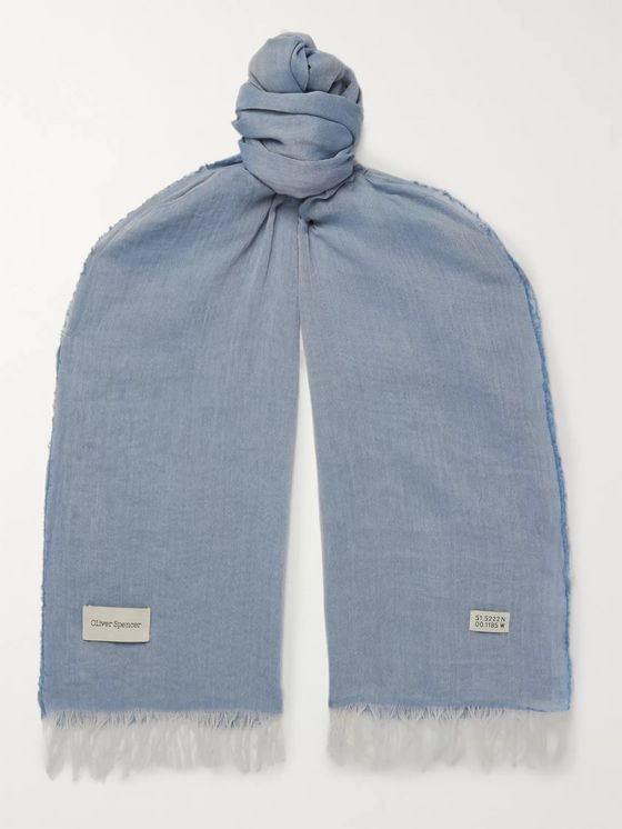Oliver Spencer Heron Fringed Cotton Scarf