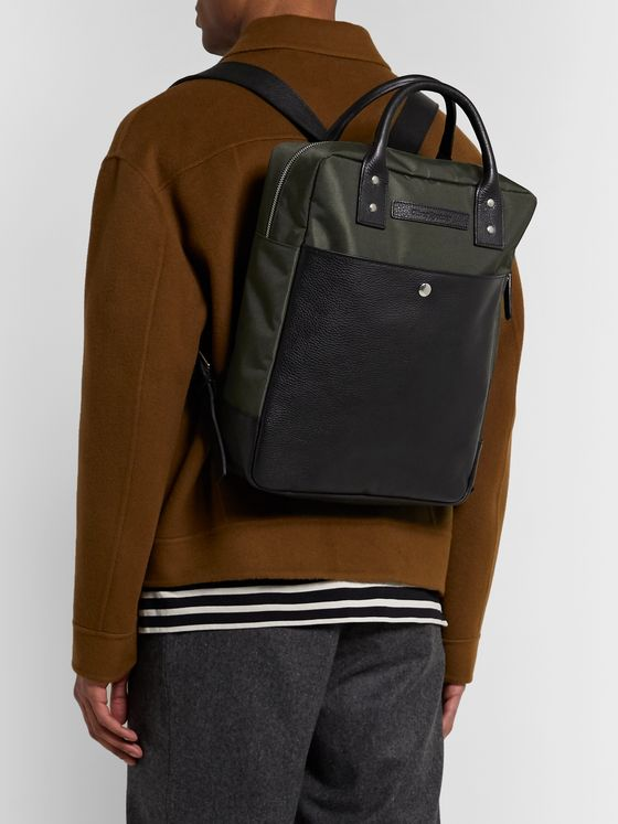 Oliver Spencer Full-Grain Leather and Canvas Backpack