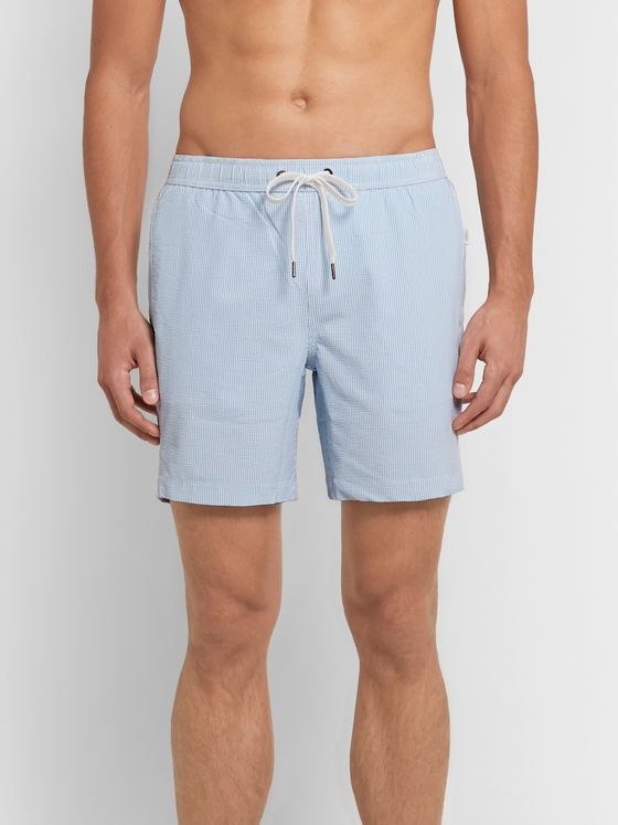 Onia Mid-Length Striped Seersucker Swim Shorts
