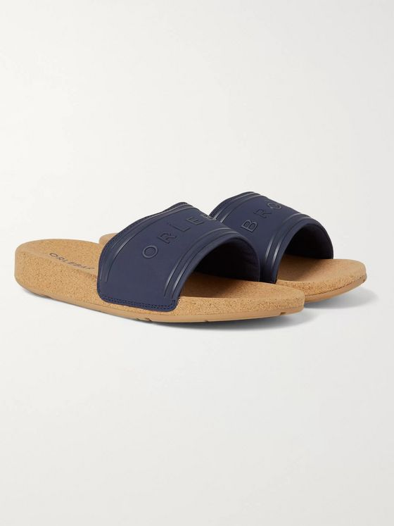 Orlebar Brown Haddon Logo-Embossed Canvas and Cork Slides