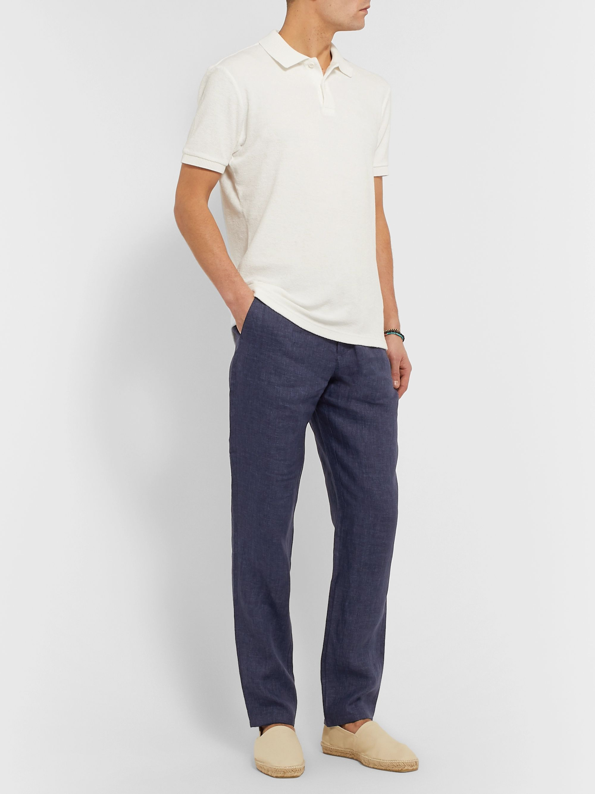Orlebar Brown Navy Griffon Linen Trousers
