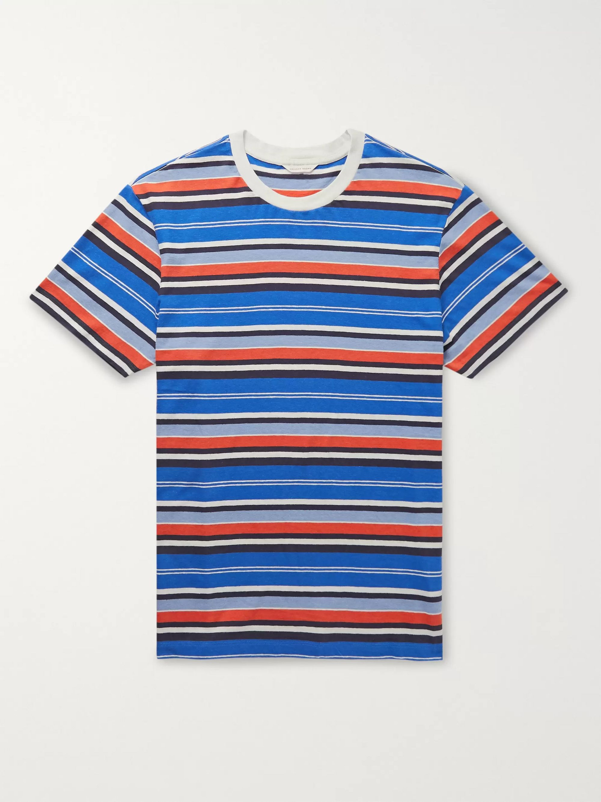 Orlebar Brown Sammy Striped Cotton and Linen-Blend T-Shirt