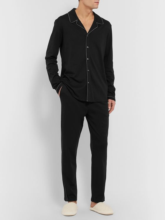 Calvin Klein Underwear Camp-Collar Piped Cotton-Jersey Pyjama Shirt