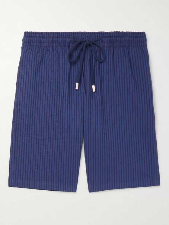Vilebrequin Bolide Striped Cotton-Seersucker Shorts