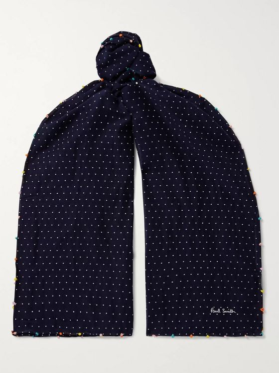 Paul Smith Polka-Dot Cotton and Silk-Blend Scarf