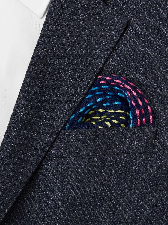 Paul Smith Embroidered Linen Pocket Square