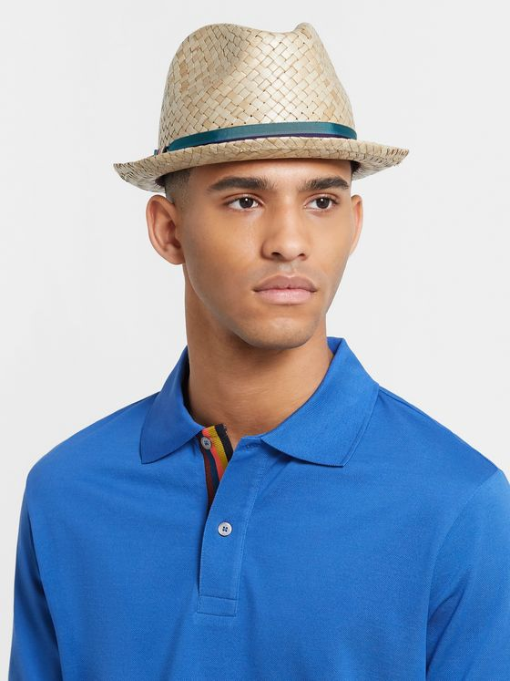 Paul Smith Striped Webbing-Trimmed Woven-Straw Trilby Hat