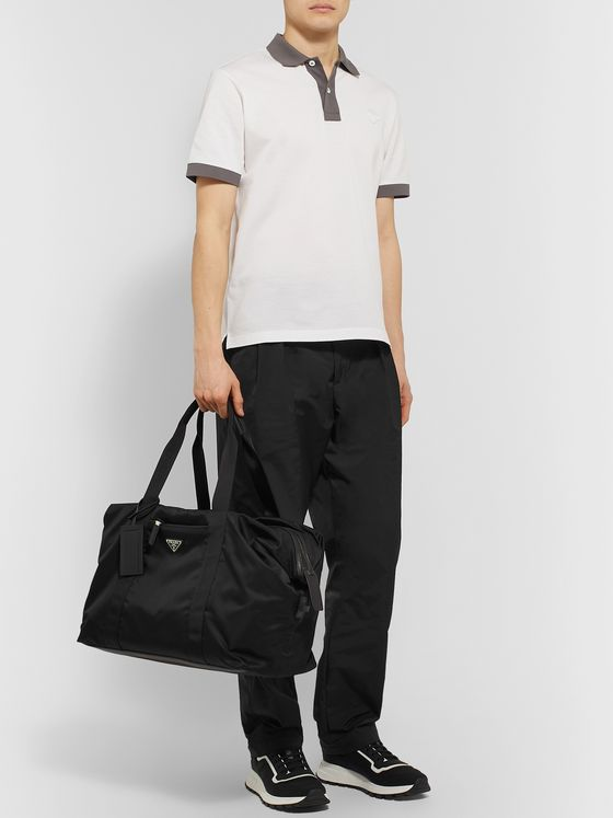 Prada Logo-Appliquéd Saffiano Leather-Trimmed Nylon Holdall