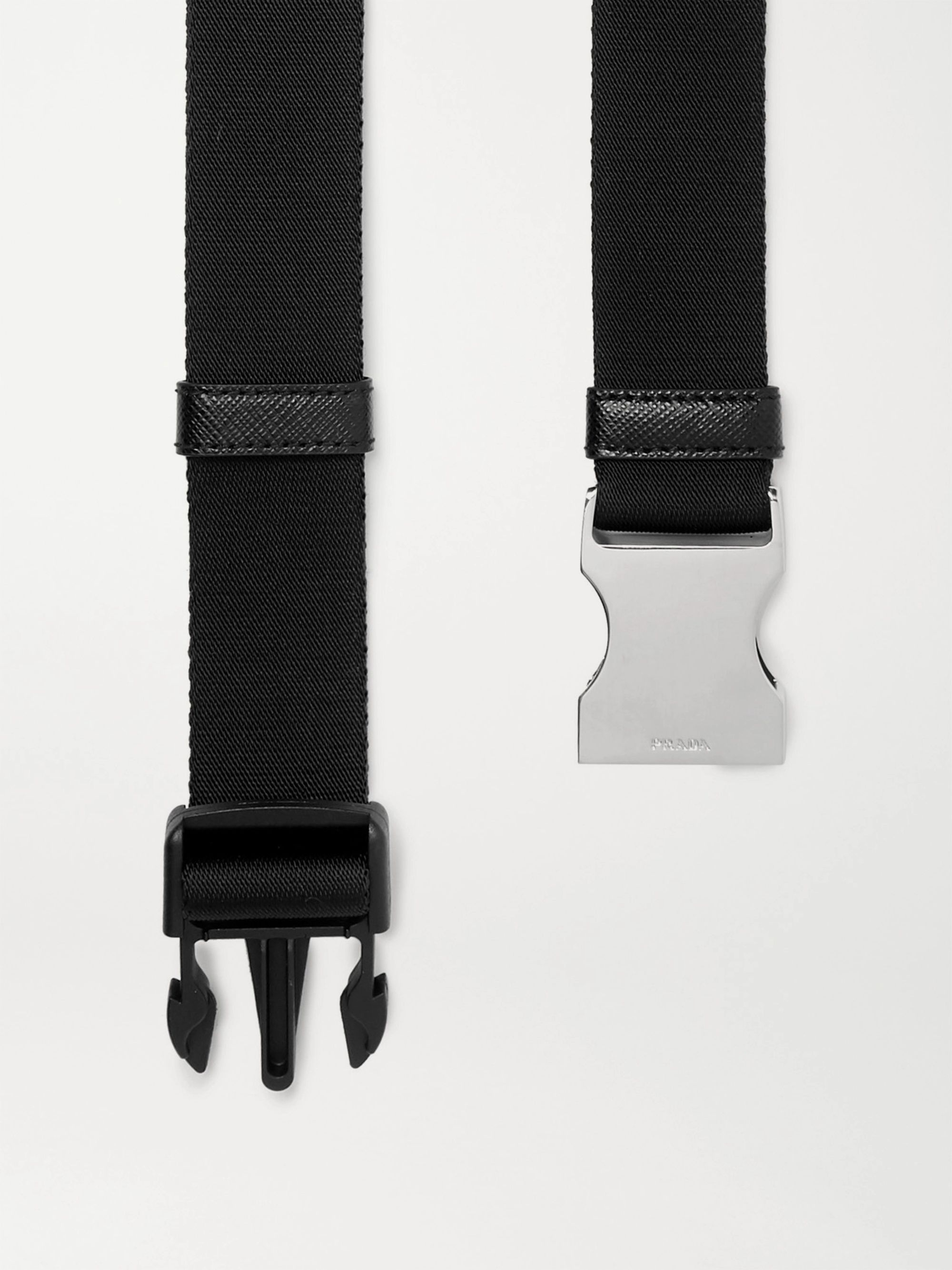 Prada 3cm Saffiano Leather-Trimmed Webbing Belt