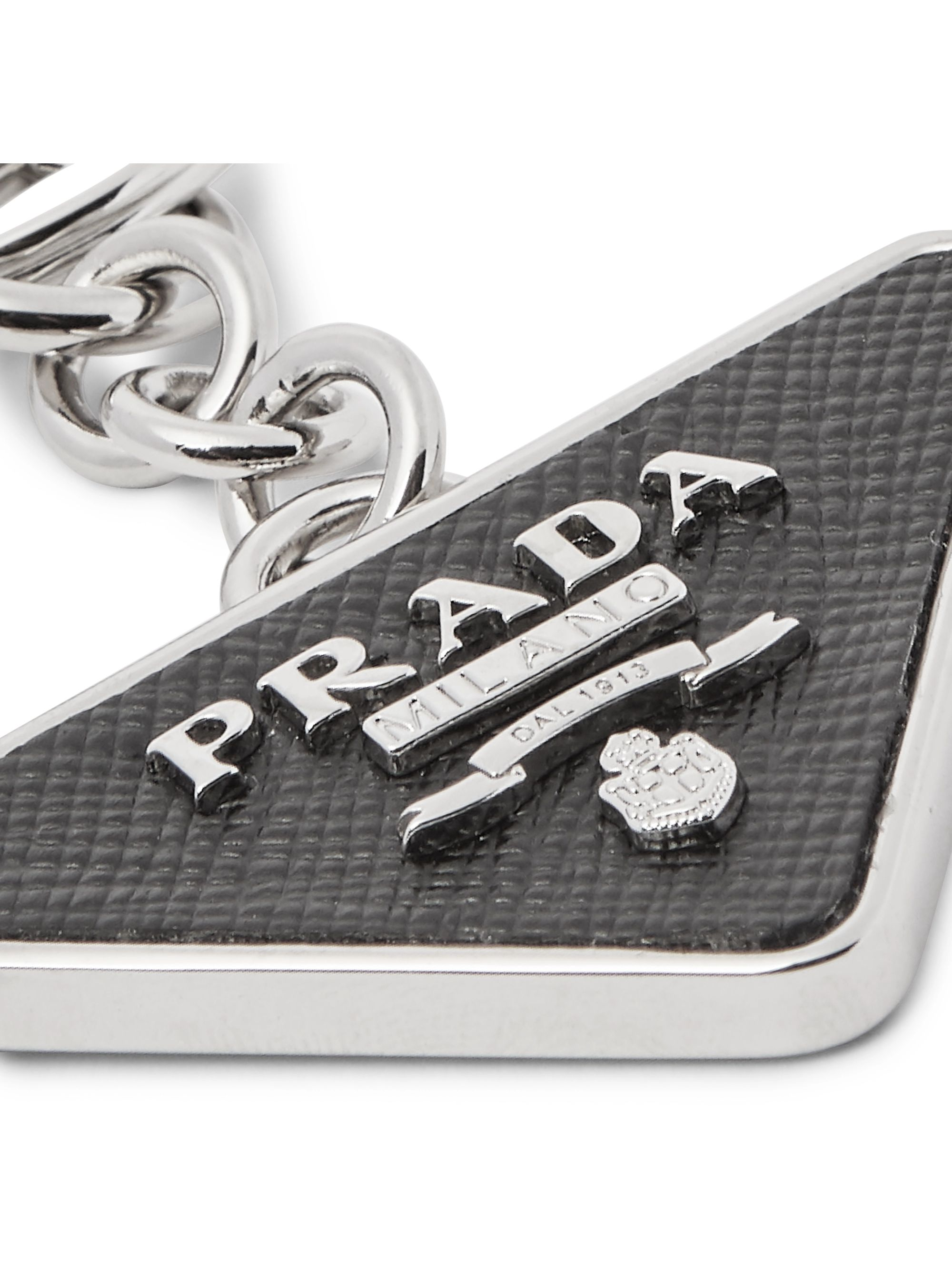 Prada Saffiano Leather and Silver-Tone Key Fob