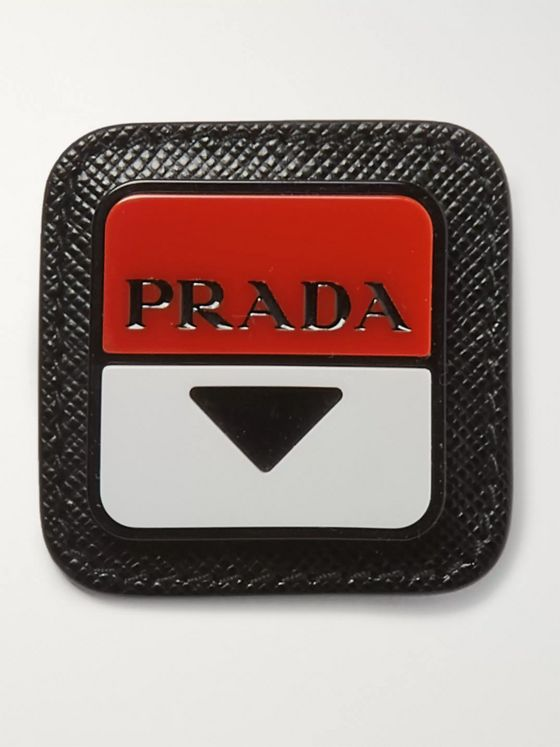 Prada Saffiano Leather, Steel and Enamel Pin Badge