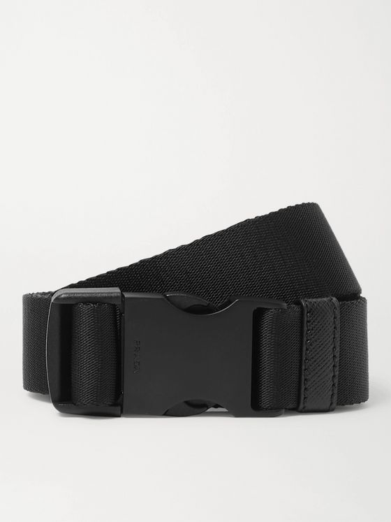 Prada 3cm Saffiano Leather-Trimmed Nylon Belt