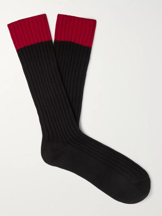 Prada Colour-Block Ribbed Cotton-Blend Socks