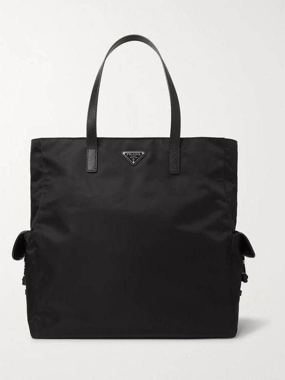 Prada Saffiano Leather-Trimmed Nylon Tote