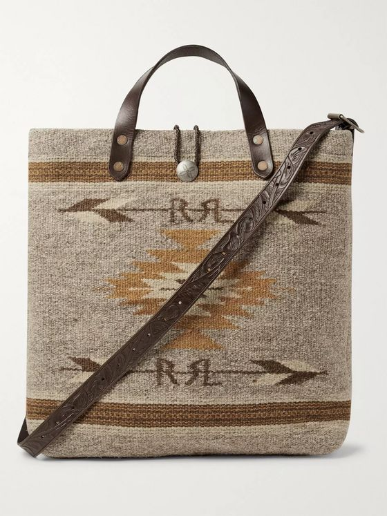 RRL Garrett Leather-Trimmed Wool and Cotton-Blend Tote Bag