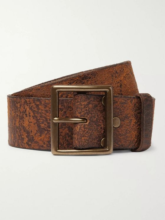 RRL 4cm Jones Tumbled-Leather Belt