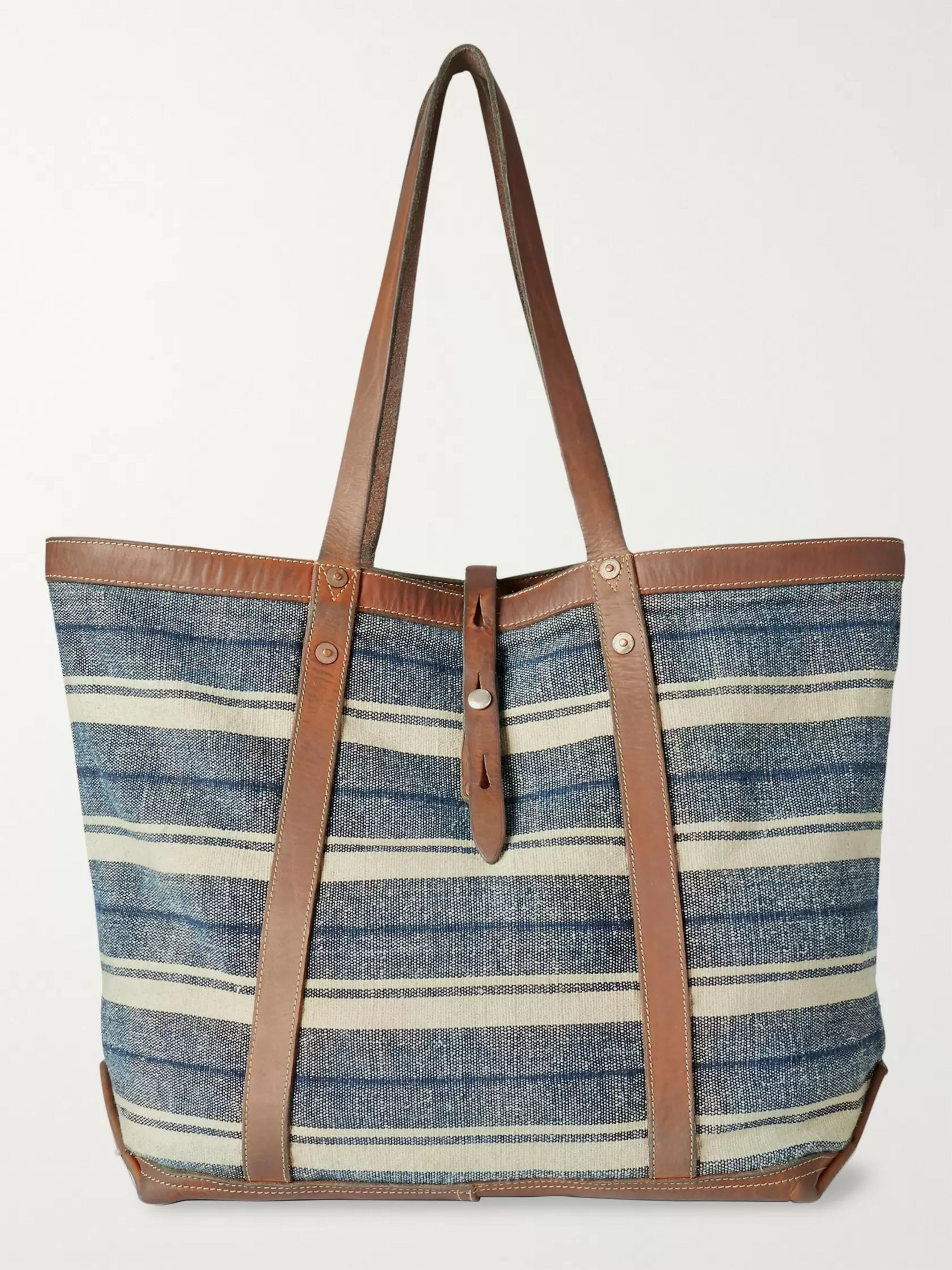 RRL Murphy Leather-Trimmed Striped Cotton-Canvas Tote Bag