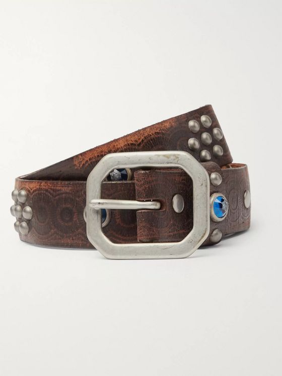 RRL 3cm Rasco Studded Tumbled-Leather Belt