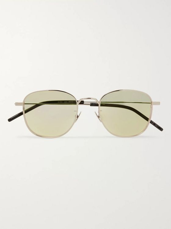 SAINT LAURENT Round-Frame Silver-Tone Sunglasses