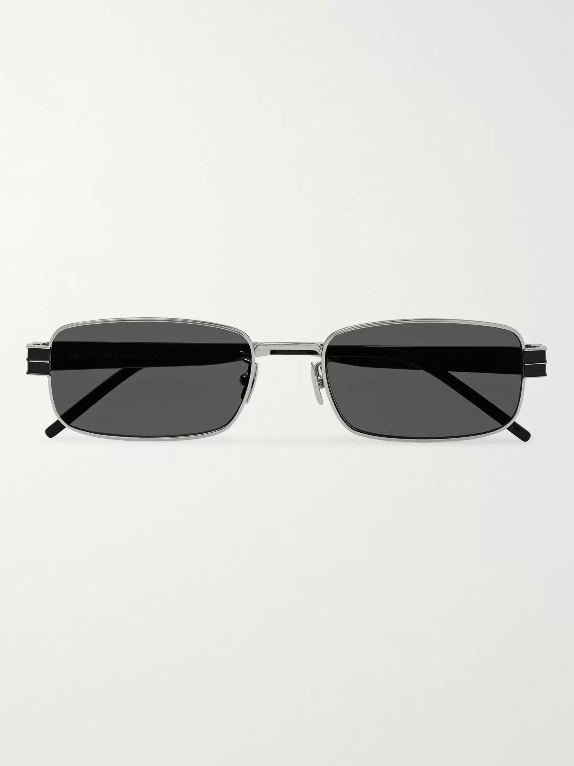 SAINT LAURENT Rectangle-Frame Silver-Tone and Enamel Sunglasses