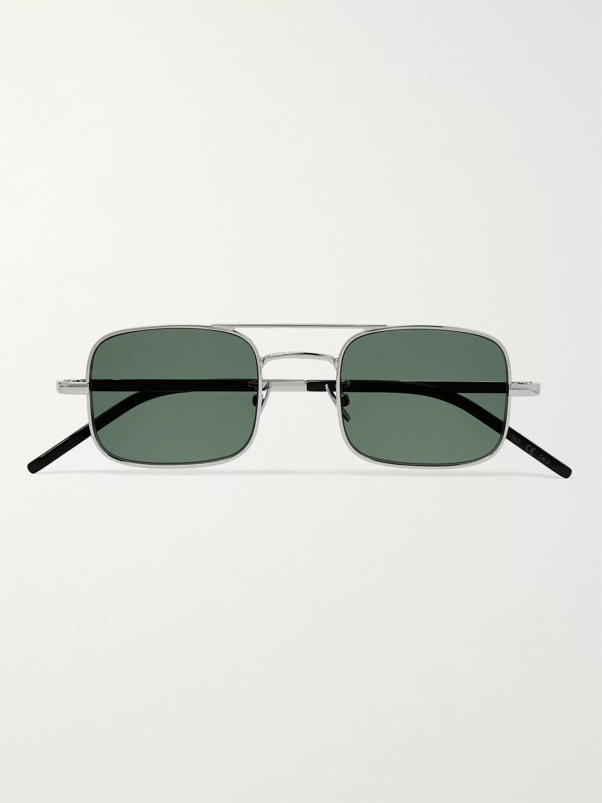 Square Frame Silver Tone Sunglasses