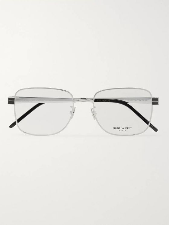 SAINT LAURENT Square-Frame Silver-Tone and Acetate Optical Glasses
