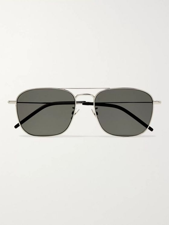 SAINT LAURENT Square-Frame Silver-Tone Sunglasses