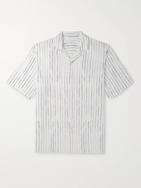 Sunspel Camp-Collar Striped Lyocell Shirt