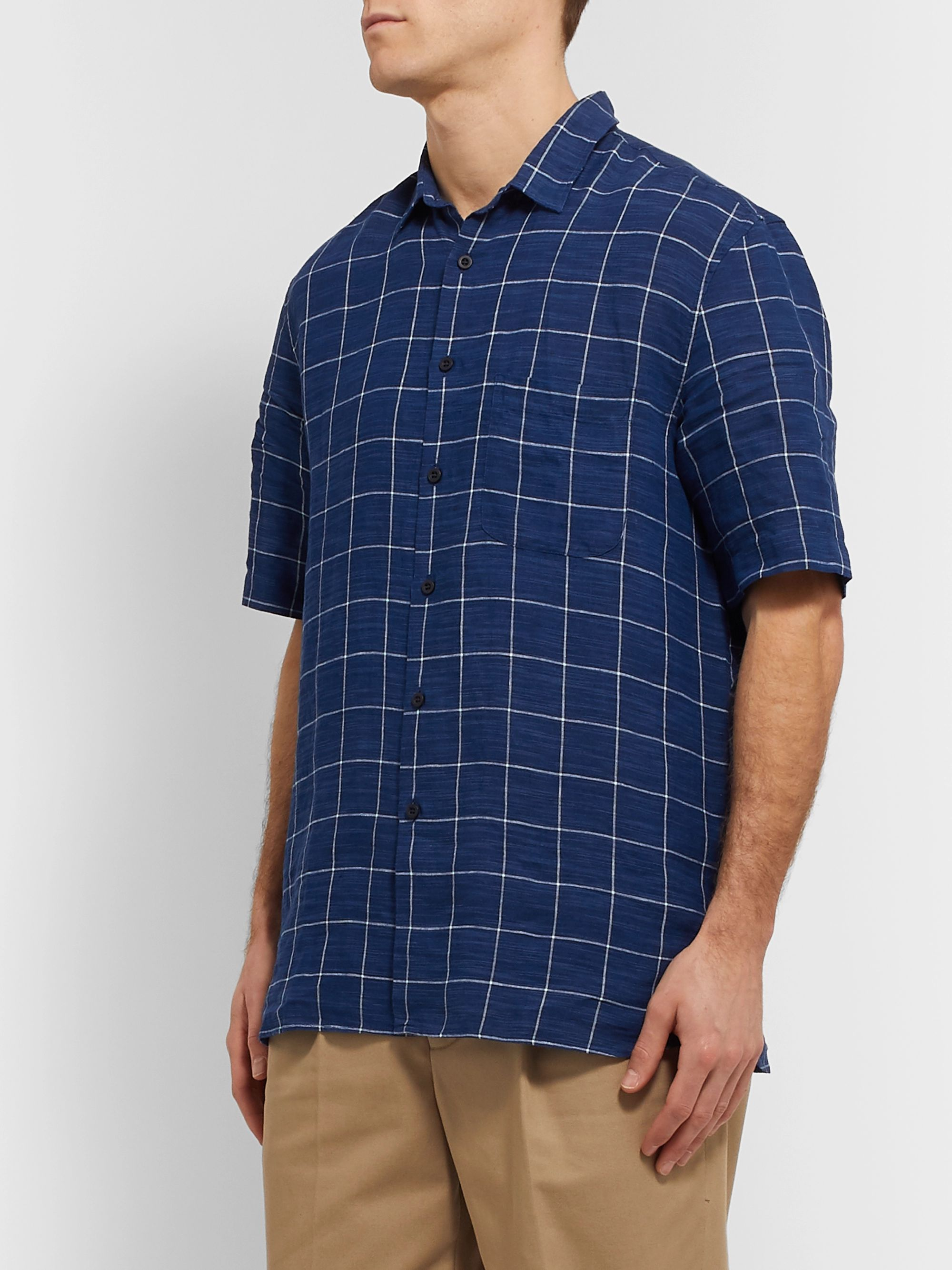 Sunspel Checked Linen-Canvas Shirt