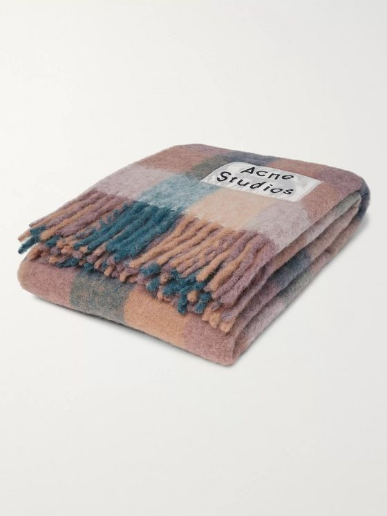 Acne Studios Fringed Logo-Appliquéd Checked Knitted Blanket