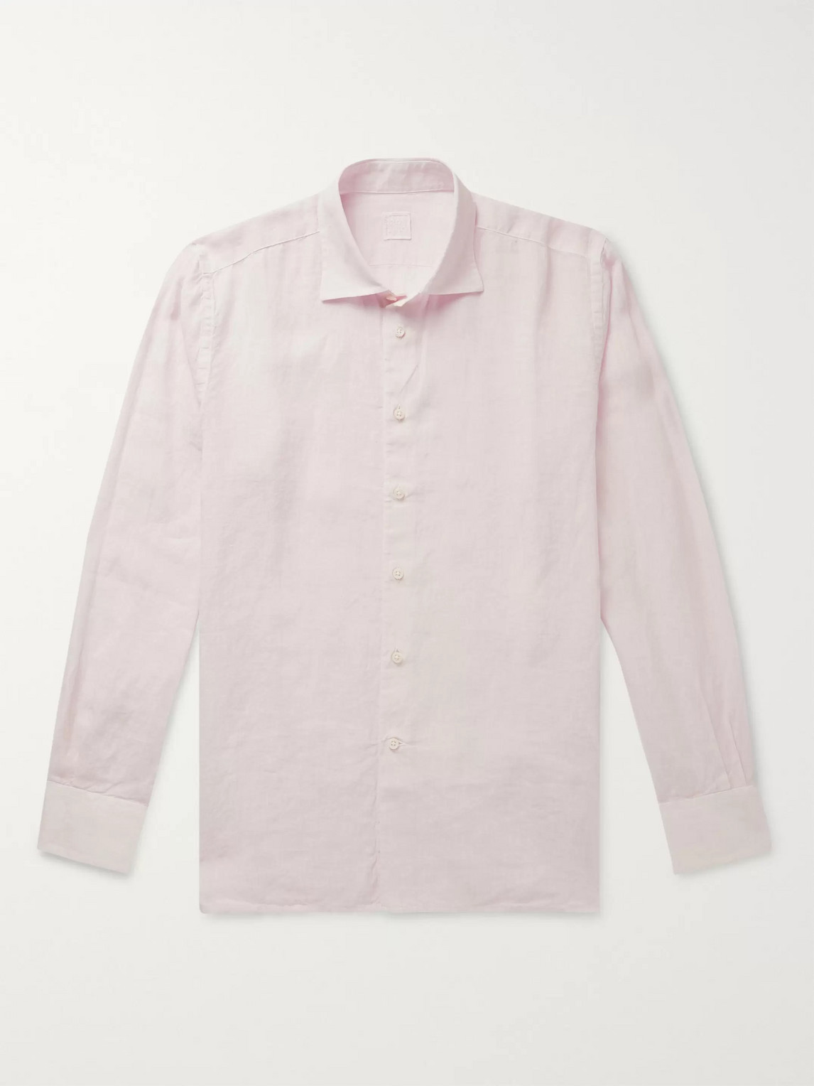 120% Slim-fit Garment-dyed Linen Shirt In Pink