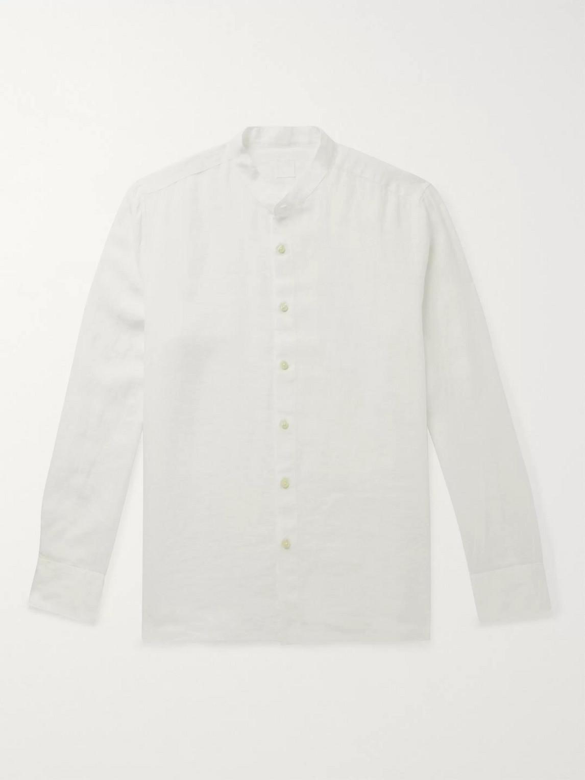 120% Slim-fit Grandad-collar Garment-dyed Linen Shirt In White