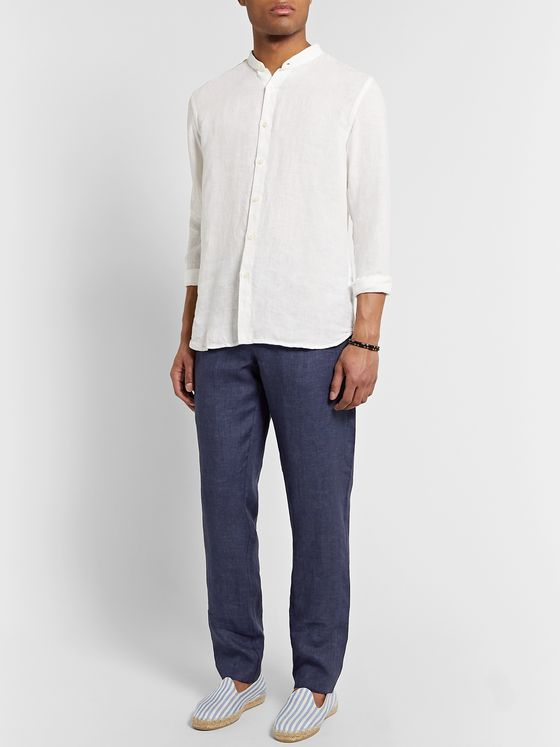 120% Slim-Fit Grandad-Collar Garment-Dyed Linen Shirt
