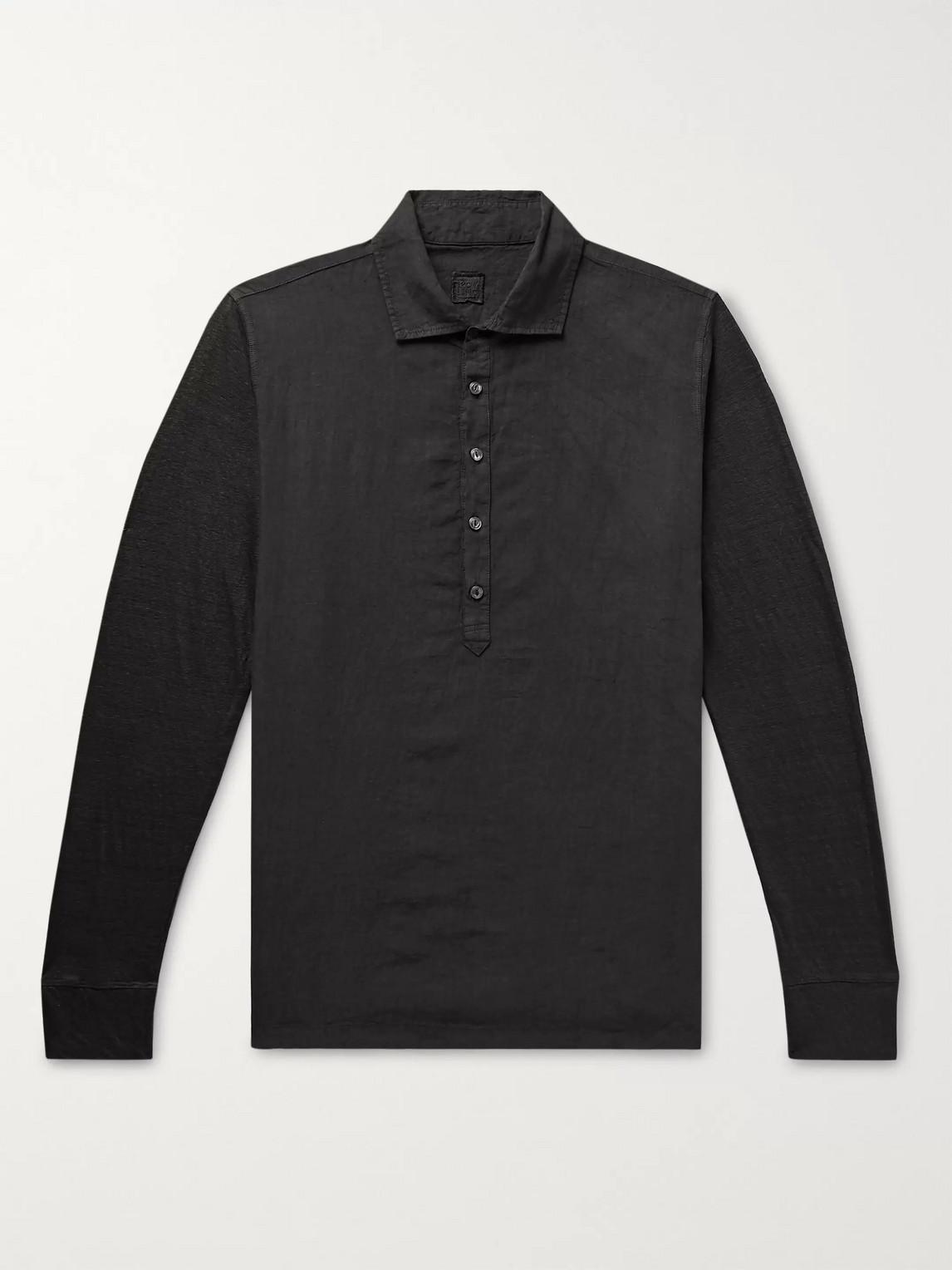 120% Garment-dyed Linen Polo Shirt In Black