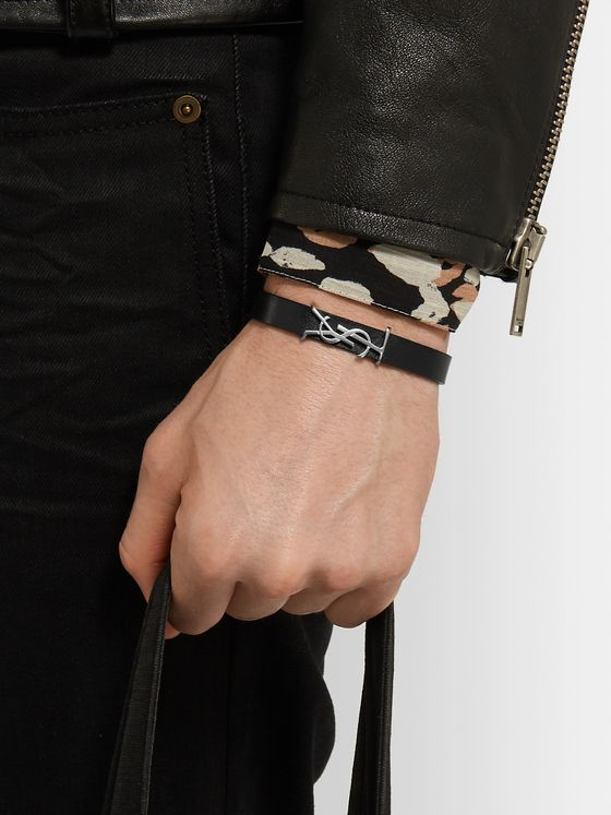SAINT LAURENT Logo-Detailed Silver-Tone and Leather Bracelet