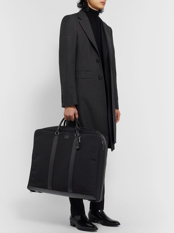 SAINT LAURENT Leather-Trimmed Cotton-Canvas Suit Carrier