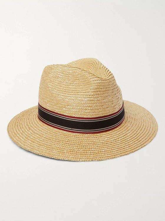 SAINT LAURENT Ribbon-Trimmed Straw Panama Hat