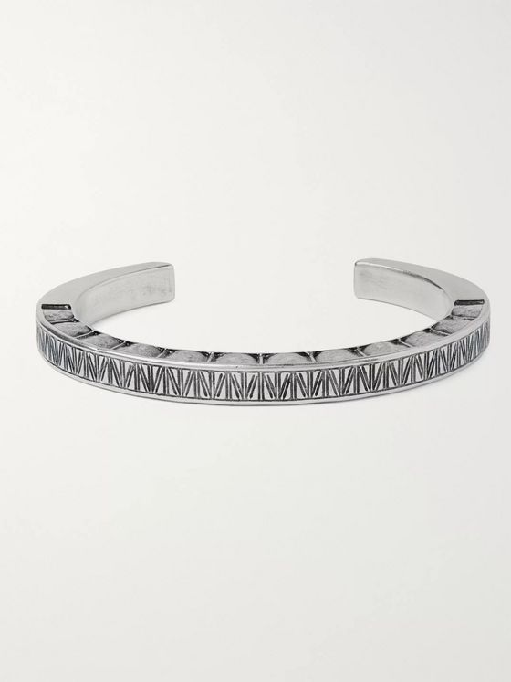 SAINT LAURENT Oxidised Silver-Tone Cuff