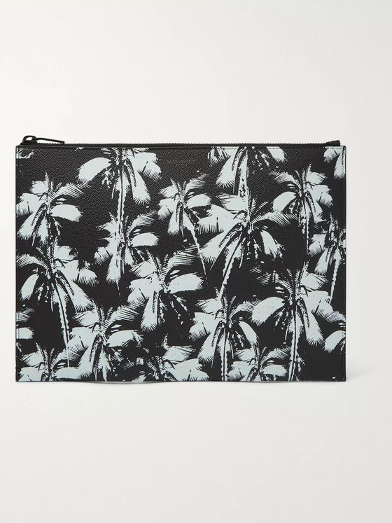 SAINT LAURENT Printed Pebble-Grain Leather Pouch