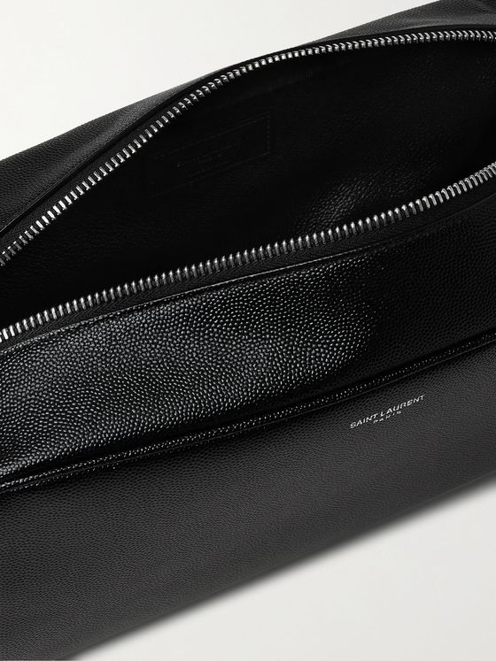 SAINT LAURENT Pebble-Grain Leather Wash Bag