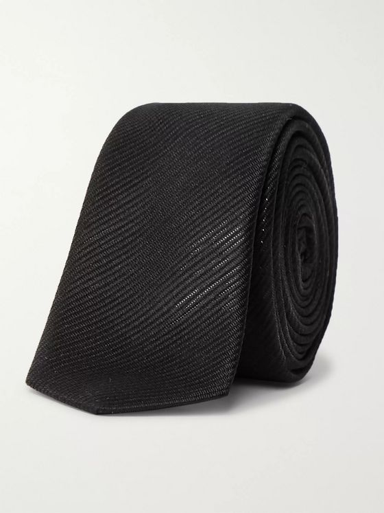 SAINT LAURENT 4cm Metallic Silk-Blend Jacquard Tie