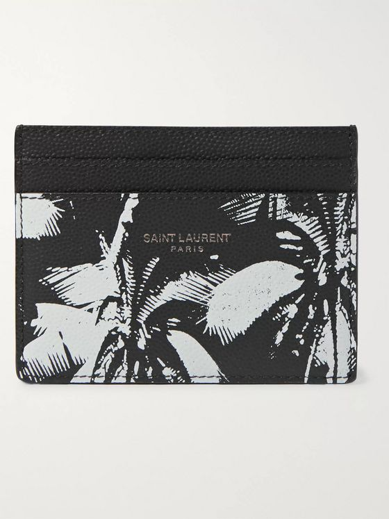 SAINT LAURENT Printed Full-Grain Leather Cardholder