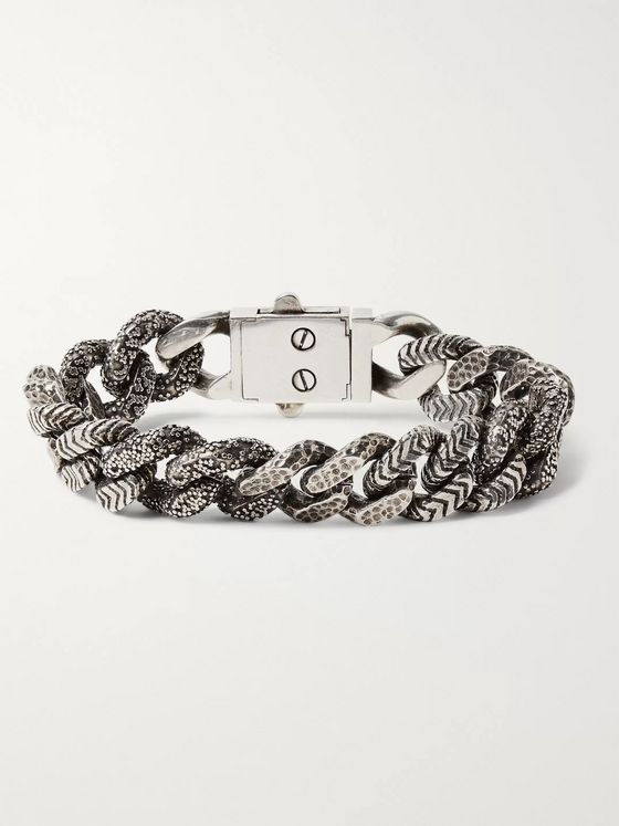 SAINT LAURENT Textured Silver-Tone Chain Bracelet