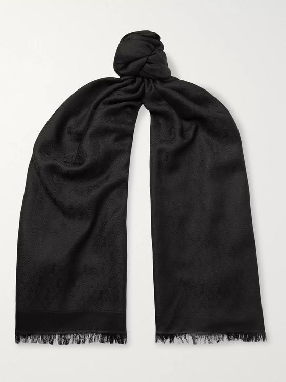 SAINT LAURENT Logo-Jacquard Silk and Wool-Blend Scarf