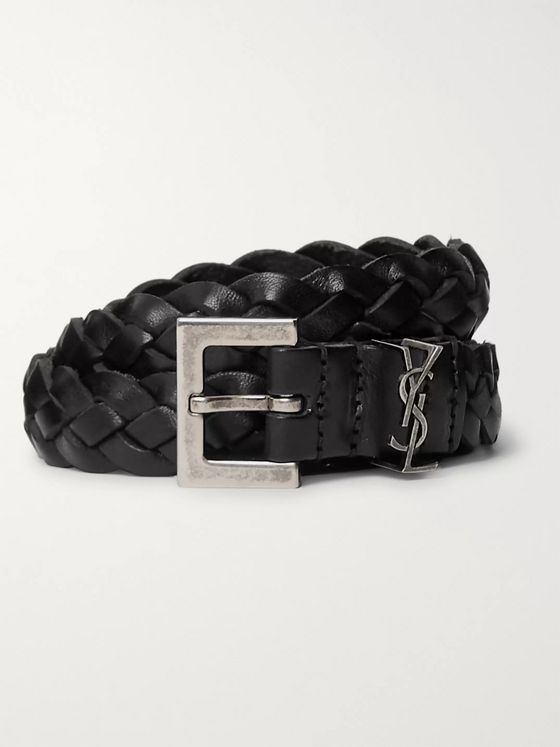 SAINT LAURENT 2cm Black Woven Leather Belt