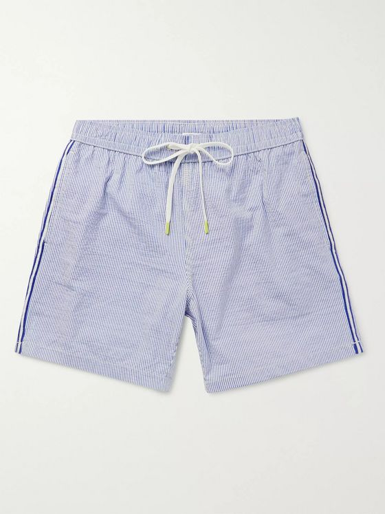 Hartford Slim-Fit Mid-Length Striped Seersucker Swim Shorts