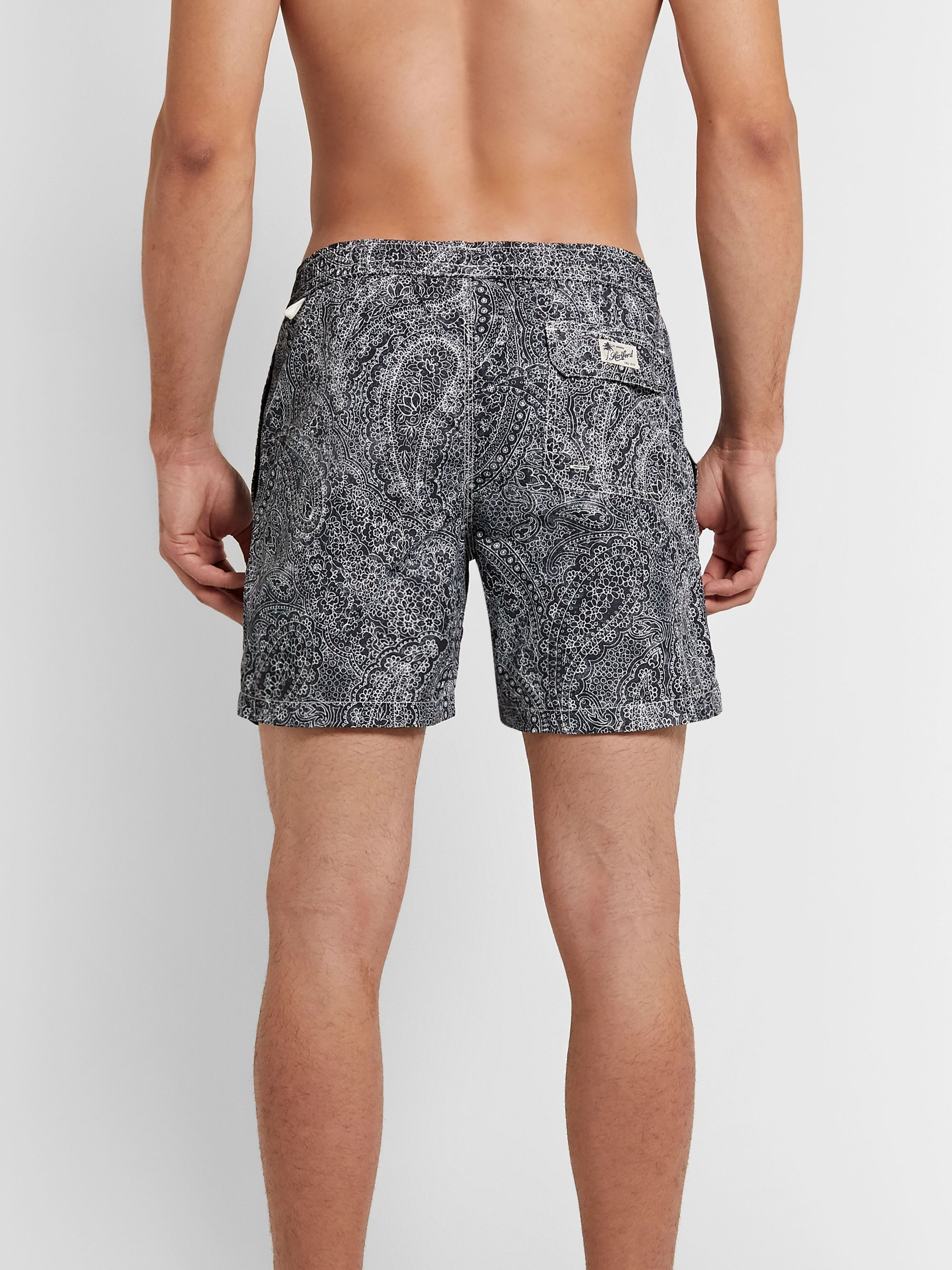 Hartford Slim-Fit Mid-Length Paisley-Print Swim Shorts