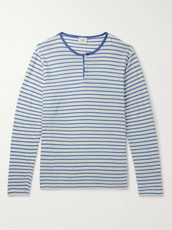 Hartford Striped Linen and Cotton-Blend Henley T-Shirt